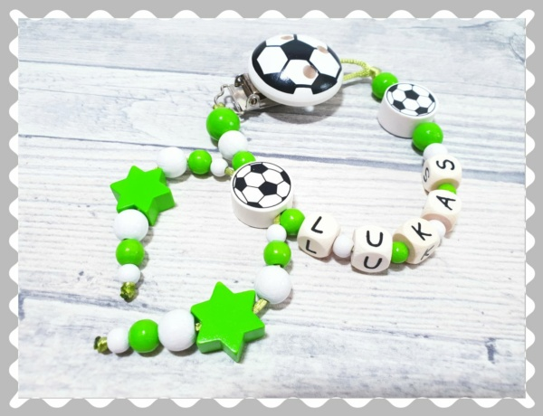 """Schnullerkette """"Fussball mit Fussballclip"""", mit Wunschfarben"""