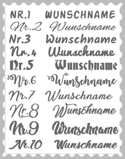 """Kissen """"Wimpelkette, Baum + 3 D Schmettering"""", mit Wunschstoffen"""