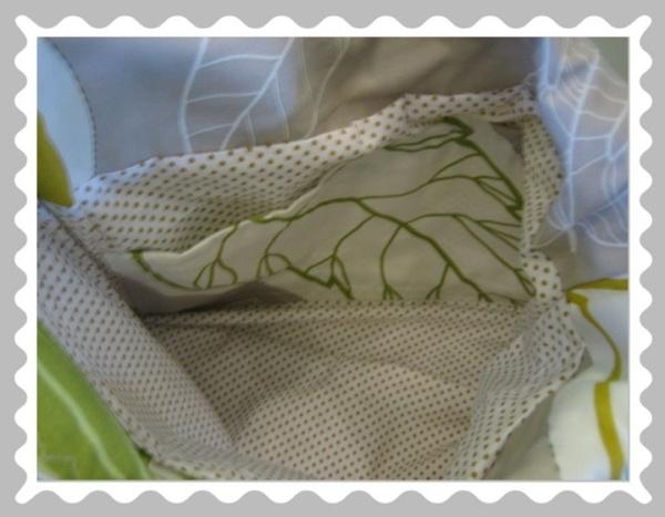 Ballontasche in Canvas Beige/Grün/Gelb