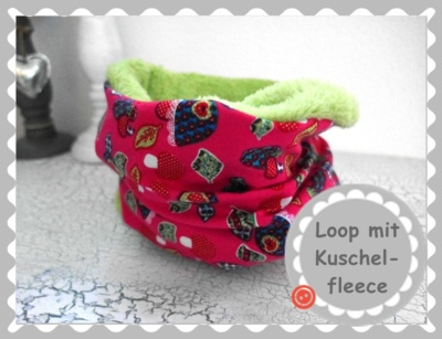 "Loopschal ""Pink mit bunten Pilzen"" nach Wunsch"
