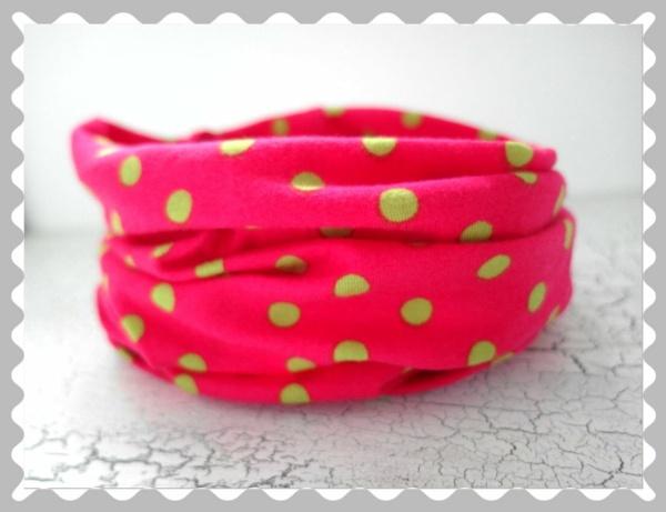 """Loopschal """"Pink mit grünen Punkten"""" nach Wunsch"""