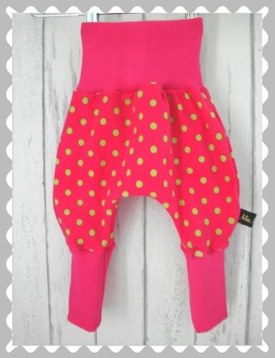 "Pumphosen ""Pink mit grünen Punkten"" mit Bündchen nach Wunsch"