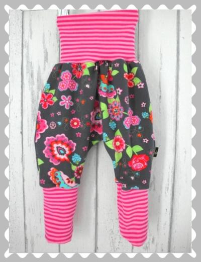 """Pumphose """"Colourful Blooms auf Grau"""" mit Bündchen nach Wunsch"""