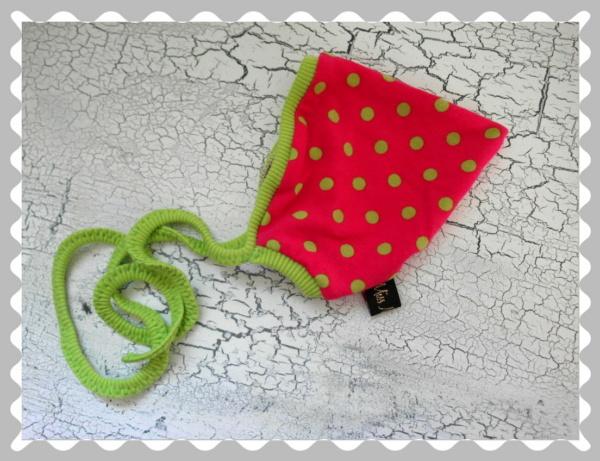 """Babyzipfelmütze """"Pink mit Grünen Punkten"""" in versch.Bündchen und Größen"""