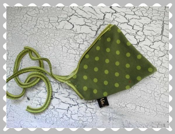 """Babyzipfelmütze """"Grün mit Khakifarbenen Punkten"""" in versch.Bündchen und Größen"""