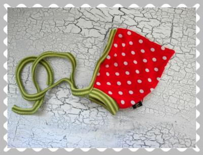 """Babyzipfelmütze """"Rot mit weißen Punkten"""" in versch.Bündchen und Größen"""