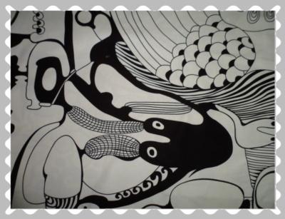 """Stoffwunsch """"Canvas Abstrakte Muster in Schwarz / Weiß"""""""