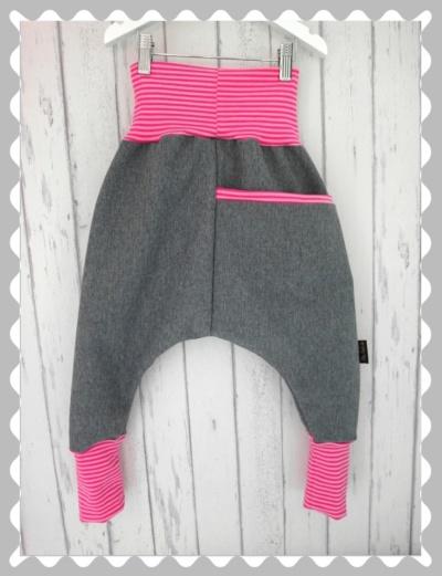 """Softshellhose """"Grau meliert/ Pink Streifen"""", wasserabweisend und kuschelig"""