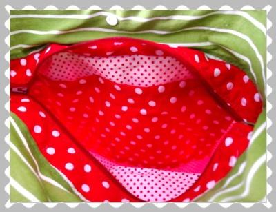 """Ballontasche """"Rot mit weißen Punkten/Grün Streifen"""""""