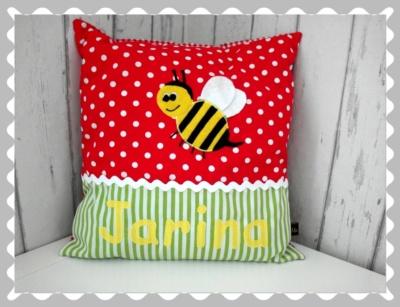 """Kissen  """"Biene"""", individualisierbar, mit Wunschstoff"""