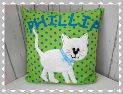 """Kissen """"Katze"""" individualisierbar, mit Wunschstoff"""