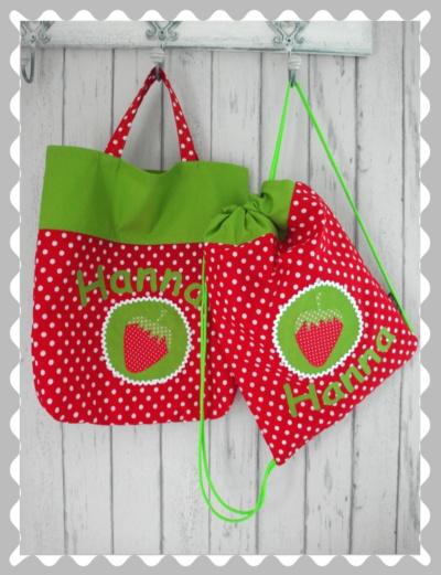 """Kitaset """"Erdbeere auf einem Emplem"""" mit Wunschstoffen"""