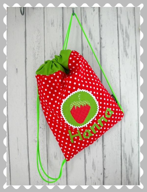 """Kordelrucksack """"Erdbeere auf Emplem"""" mit Wunschstoff"""