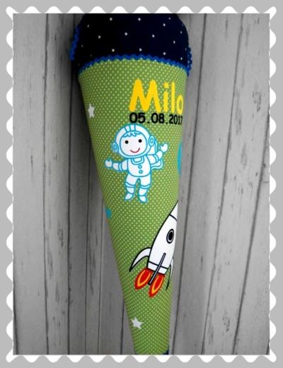 """Schultüte """"Astronaut + Rakete+Erde"""", in Wunschstoffen"""