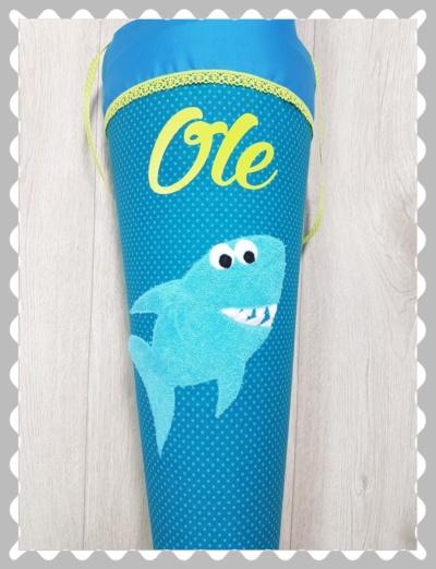 """Schultüte """"Hai aus Frottee"""" in versch. Stoffen und Größen"""