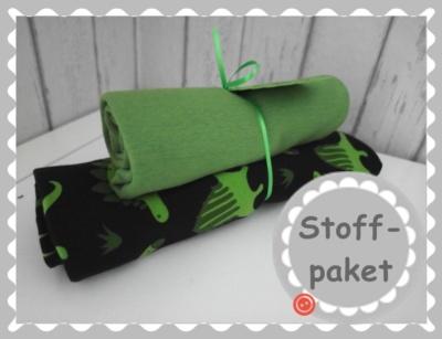 """Stoffpaket """"grüne Dinos Jersey + Bündchen"""""""
