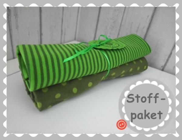 "Stoffpaket ""Olive/Grün Punkte Jersey + Bündchen"""