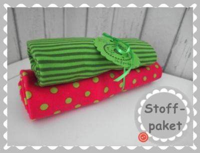"""Stoffpaket """"Pink/Grün Punkte Jersey + Bündchen"""""""