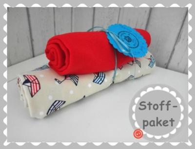 "Stoffpaket ""maritime Schiffchen Jersey + Bündchen"""