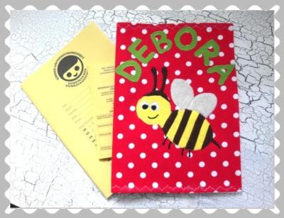 """U-Heft-Hülle """"Biene"""" mit Wunschstoffen"""